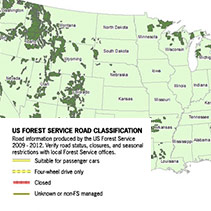 US Forest Service Roads and Trails printed maps
